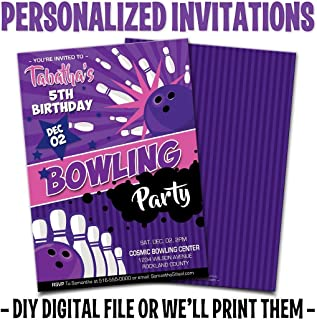 Custom Personalized Girls Bowling Birthday Invitations - Printed or Digital Files - Free Envelopes and Free Shipping On Printed Orders!