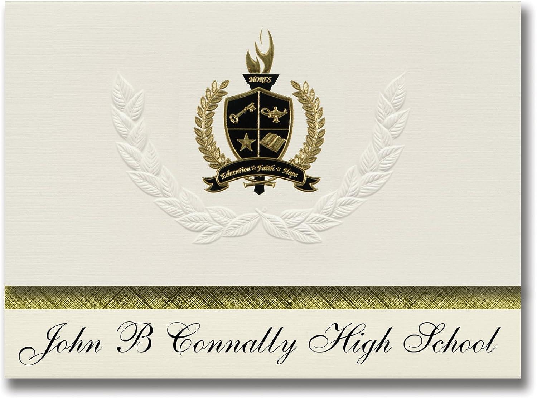 Signature Ankündigungen John B B B Brill CONNALLY High School (Austin, TX) Graduation Ankündigungen, Presidential Stil, Elite Paket 25 Stück mit Gold & Schwarz Metallic Folie Dichtung B078VDQ6RK   | Ausgewählte Materialien  5599aa