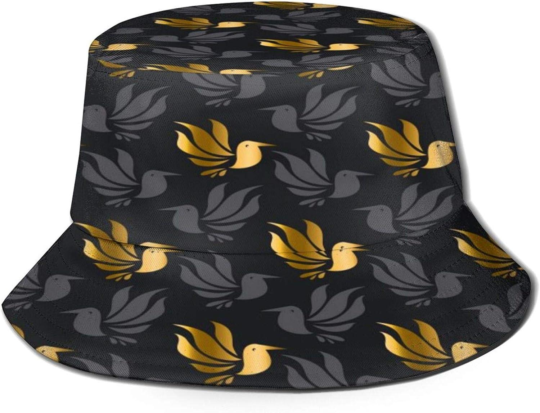 Sale Hummingbirds in Art Bucket Hat Packable Summer Sun Fi Unisex Selling