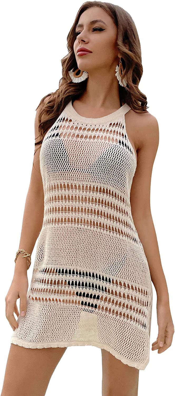 MakeMeChic Women's Beach Cut Out Back Split Hem Sheer Crochet Cover Up Dress for Bikini