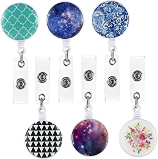ECOHIP 6 Pack Retractable Badge Holders ID Card Badge Reels Cute Name Tag Lanyard Office Women Badge Clip