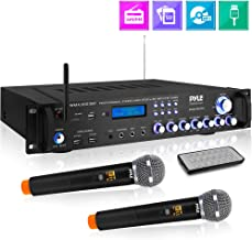 Bluetooth Home Audio Power Amplifier -4 Ch. 3000W, Stereo Receiver w/ Speaker Selector, FM Radio, USB, Headphone, 2 Wireless Mics for Karaoke, Great for Home Entertainment System - Pyle PWMA4001BT