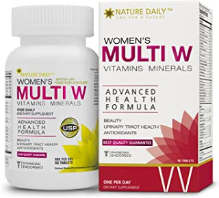 Nature Daily Women's Multi W Vitamins Minerals, Advanced Health Formula, One A Day, 60 Tablets, Whole Food Multivitamins, Supplements
