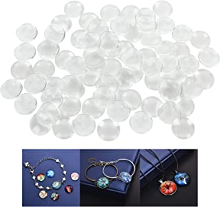 TSKDKIT 100 Pcs Clear Cabochon Glass 25mm Clear Glass Beads Cabochon Glass for Jewellery Making Vase DIY Craft Making etc Clear Cabochons Dome Tiles for Pendant