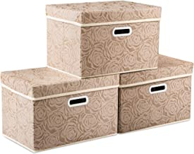 Prandom Collapsible Storage Cubes with Lids Fabric Decorative Storage Bins Boxes Organizer Containers Baskets with Cover H...