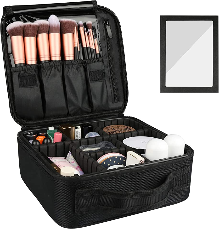 Travel Makeup Bag,Portable Organizer Makeup Cosmetic Train Case with Mirror - Large Capacity and Adjustable Dividers for Cosmetics Makeup Brushes and Toiletry Jewelry for More Storage
