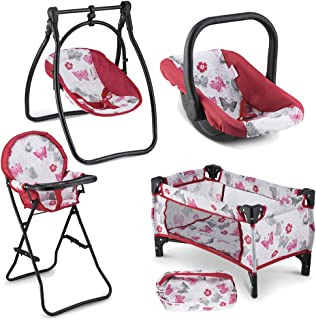 Litti Pritti 4 Piece Set Baby Doll Accessories - Includes Baby Doll Swing, Baby Doll High Chair, Doll Pack N Play, Baby Do...