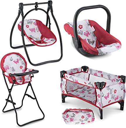 Litti Pritti 4 Piece Set Baby Doll Accessories - Includes Baby Doll Swing, Baby Doll High Chair, Doll Pack N Play, Baby Doll Carrier – 18 inch Doll Accessories for 3 Year Old Girls and Up