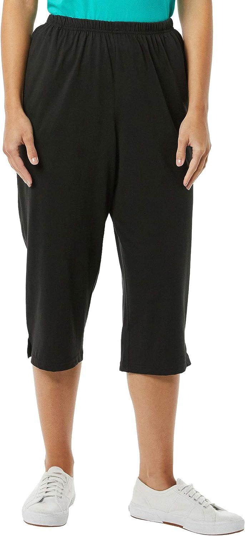 AmeriMark Women's Knit Capris – 100% Cotton Pants with Stretch Elastic Waist
