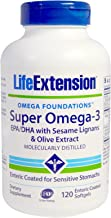 Super Omega-3 EPA/DHA with Sesame Lignans & Olive Extract 120 enteric Coated softgels-Pack-3