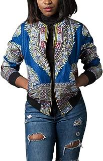Womens African Print Classic Zipper Biker Bomber Jacket Short Coat