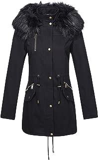 Women's Parka Faux Fur Collar Twill Jacket, Warm Women Winter Coats with Hooded