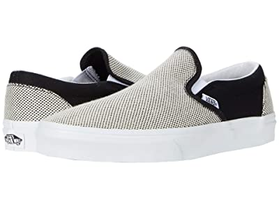 Vans Classic Slip-Ontm ((Two-Tone Linen) Black/True White) Skate Shoes