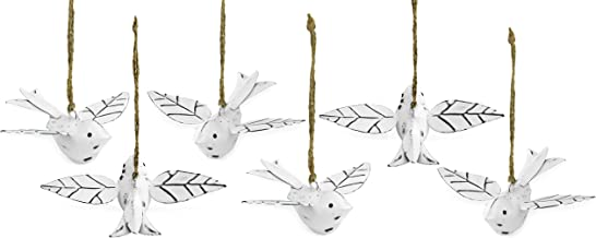 AuldHome Vintage Distressed White Bird Decorations (Set of 6); Metal Hanging Ornaments for Easter Tree, Christmas, and Seasonal Decor