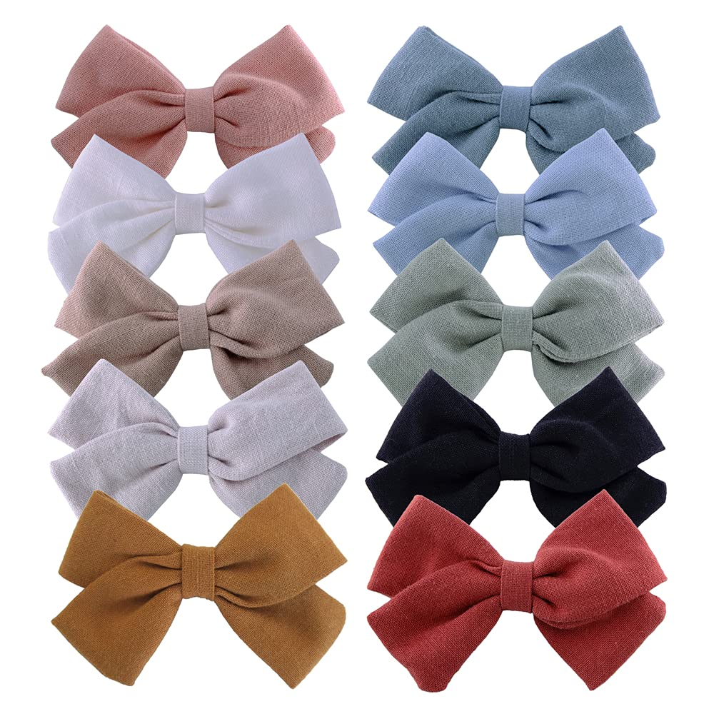 Baby Girls Linen Bow Hair Max 65% OFF Toddler Fully Infant Clips Lined Direct sale of manufacturer