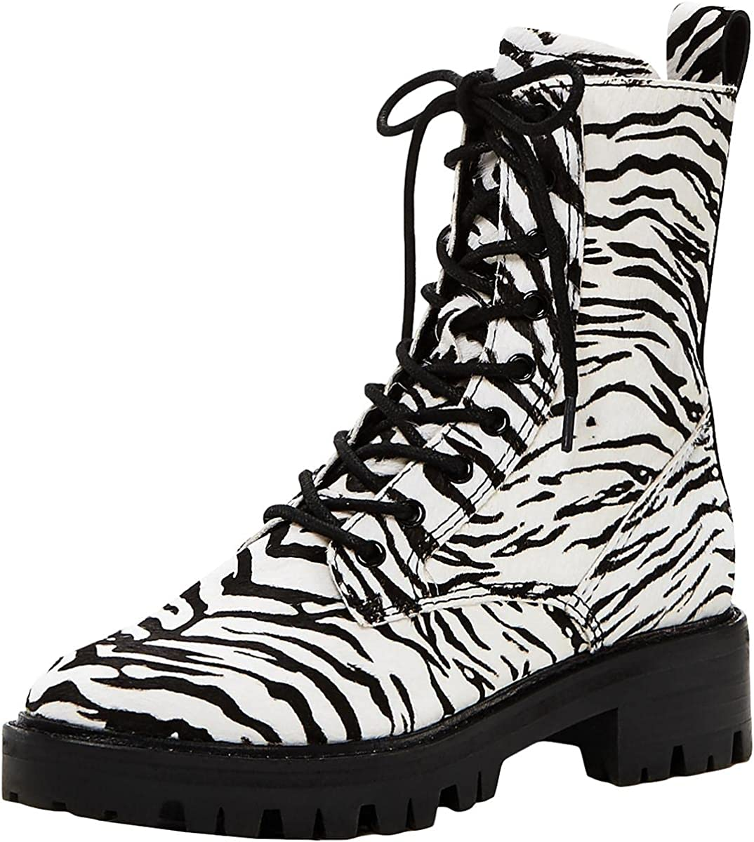Dolce Vita Womens Gregor Calf Hair Mid Calf Lace-Up Boot