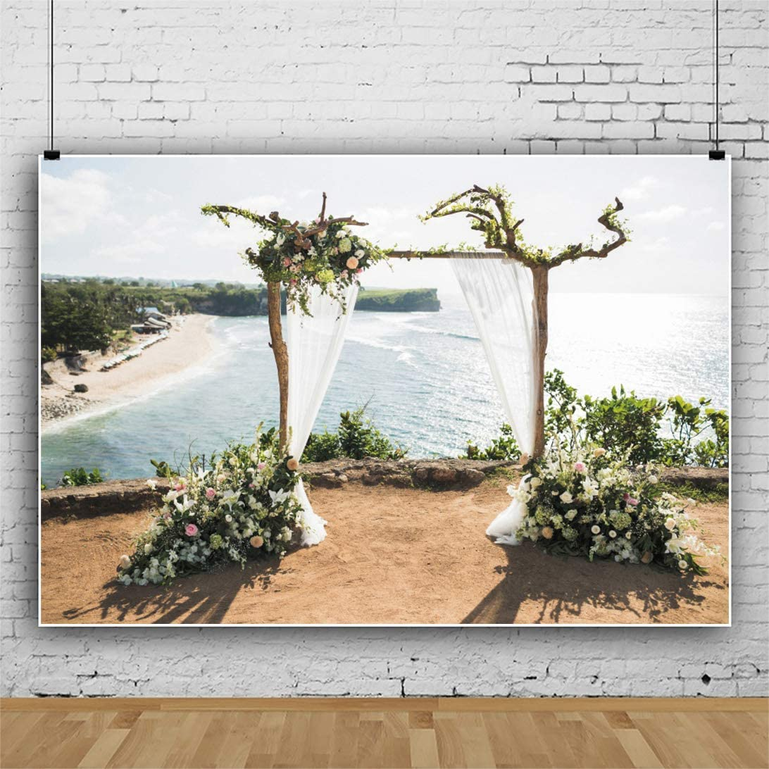 Haoyiyi 5x3ft Wedding Backdrop Sunset Wooden Branches and Flower Ocean Balangan Bali Background Photography Photo Kids Adult Carnival Banquet Event Stage Garden Festival Banner Decor