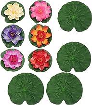 Happyyami Almohadillas de Lirio para Estanques Lotus Artificial Hojas de Lirio de Agua Flotantes para Jardín Peces Estanque Acuario Piscina Decoración de Boda 10 Piezas Coloridas