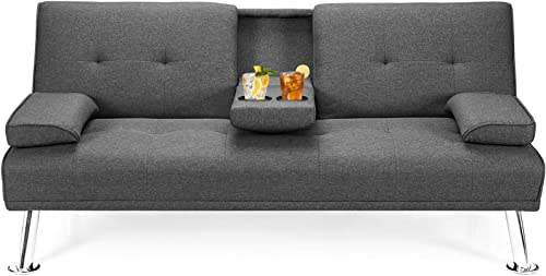 lowest Giantex Modern Convertible Futon Sofa Bed, Linen Upholstered Futon Sofa Sleeper w/Metal Leg, Removable Armrests, 2 Cup Holders, outlet sale high quality Backrest Adjustable, Folding Futon Sofa Bed for Apartment (Dark Gray) outlet sale