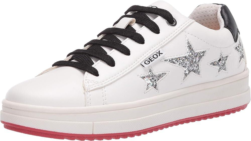 Geox j rebecca girl b, scarpe da ginnastica basse bambina,sneakers,in pelle sintetica J04BDB000BC