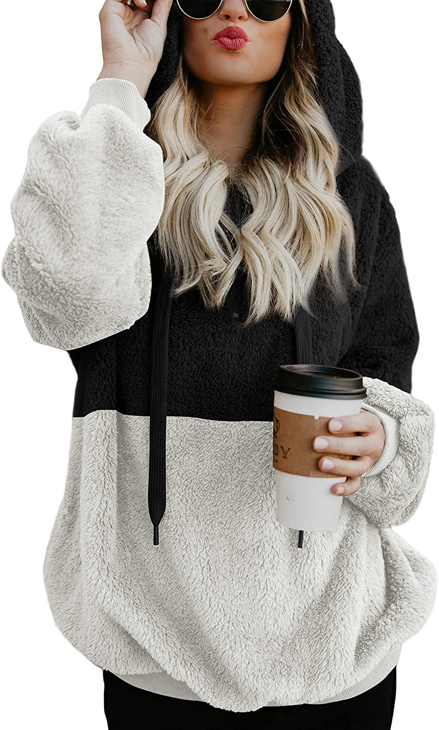BLENCOT Year-end gift Womens Oversized Warm Double Casual Sale item Hoodies Fuzzy Loose