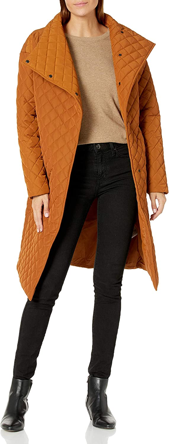 Daily Ritual Women's Quilted Oversized-Fit Long Coat