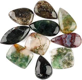 Jaguar Gems 10pcs 100+cts Natural Moss Agate Stone, Polished Cabochon, Jewelry Gemstone, Loose Crystals, Heart Chakra Healing Stone, Energy Stone, Jewelry Making Supplies, Green Gemstone Collection