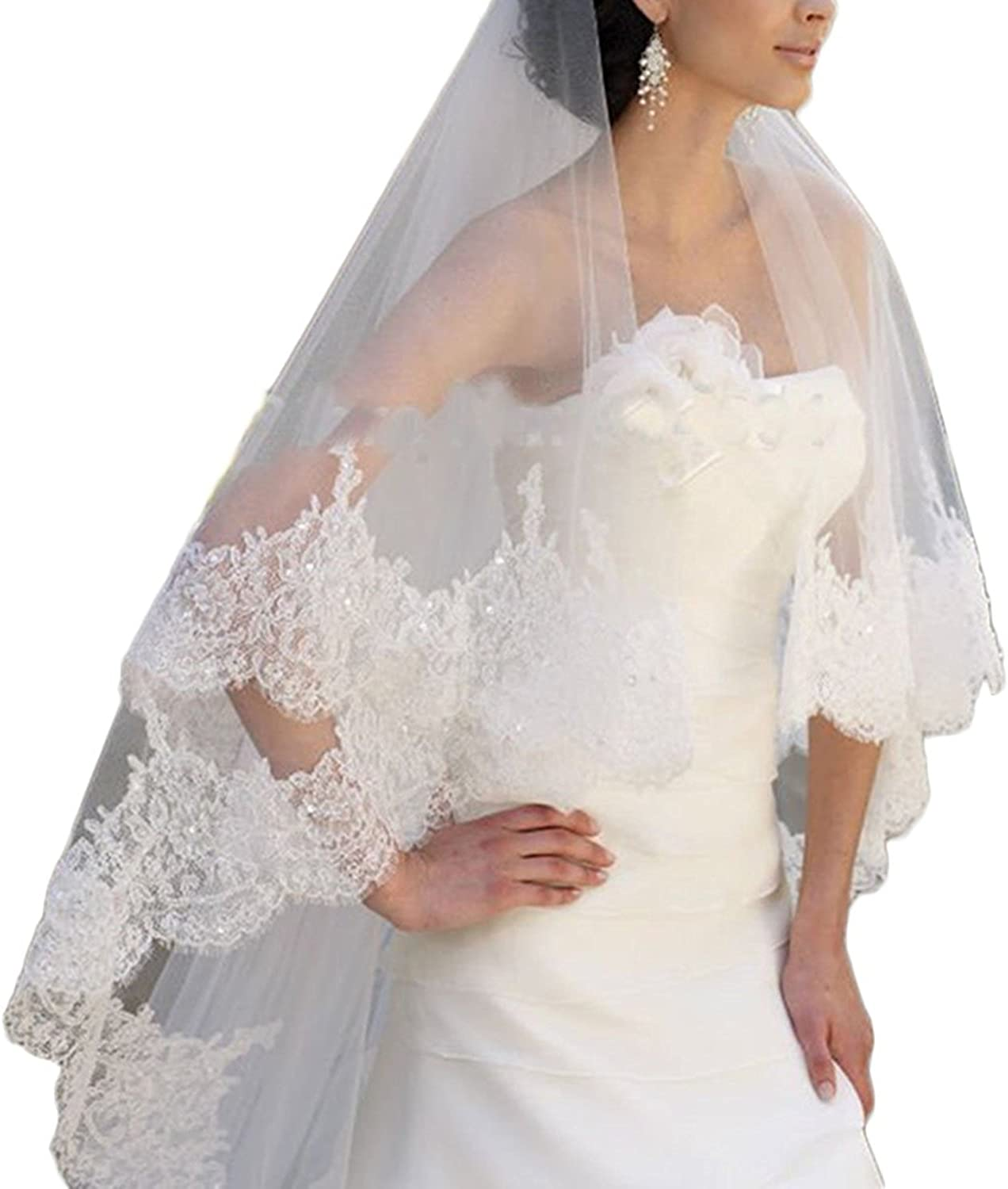 JQLD Sequin Lace Wedding Veils 3M Cathedral Long Tulle Brides 2T Veil with Comb