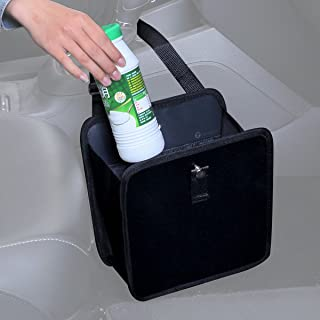 Zone Tech Fully Leak Proof Vehicle Waste Bag – Classic Black Premium Quality Black Universal Traveling Portable Car Trash Can