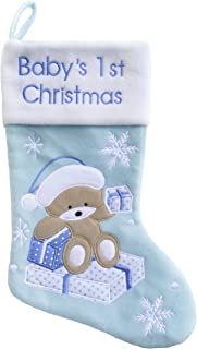 Baby's First Christmas Stockings Bear | My First Christmas Baby Boy and Baby Girl | Newborn Stockings Christmas Ornaments | Newborn Christmas Decor, Blue