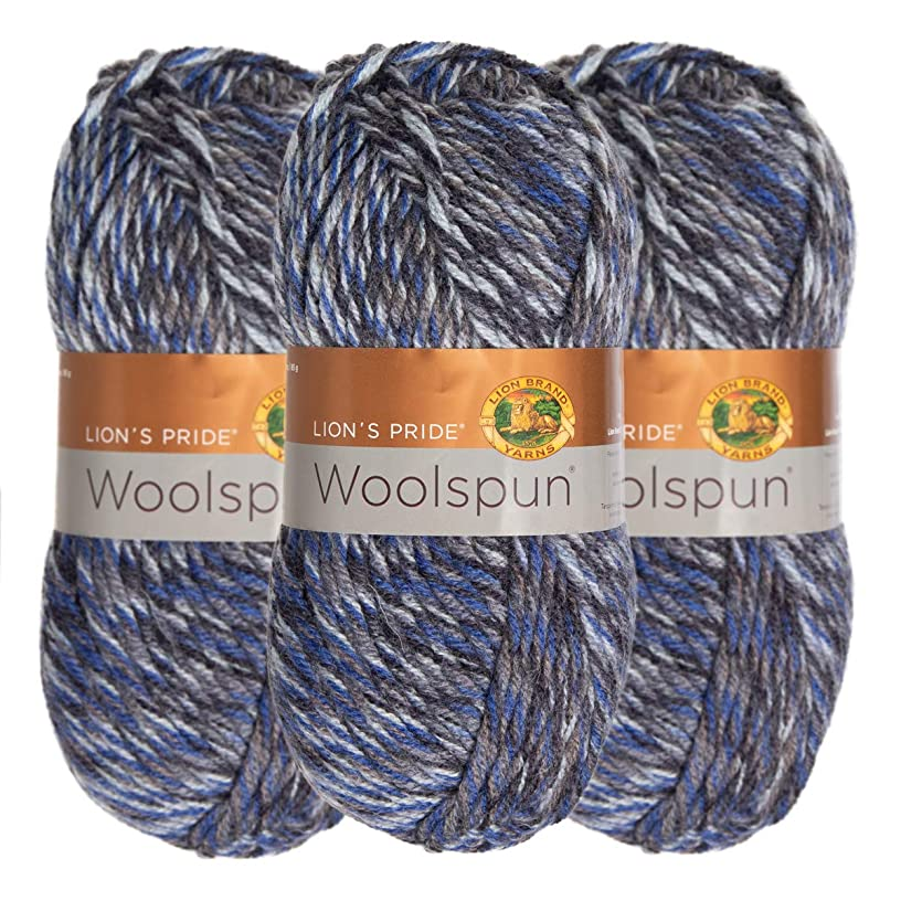 Lion Brand (3 Pack) Woolspun Acrylic & Wool Soft Sea Mist Mix White Blue Black Yarn for Knitting Crocheting Bulky #5