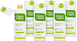 Cleanwell Botanical Antibacterial Hand Sanitizer Spray, Original Scent, Travel Size, 1 oz (Pack of 6) - Plant-Based, Alcohol-Free, Kid Friendly, Kills Germs botanically, Biodegradable Solution