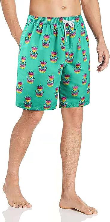 Dumoldpa Mens Swim Trunks Men's Sportwear Quick Dry Board Shorts with Mesh Lining Beach Shorts Printed Shorts Swimwear