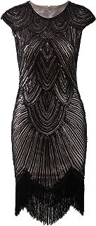 Vijiv Art Deco Great Gatsby Inspired Tassel Beaded 1920s Flapper Dress