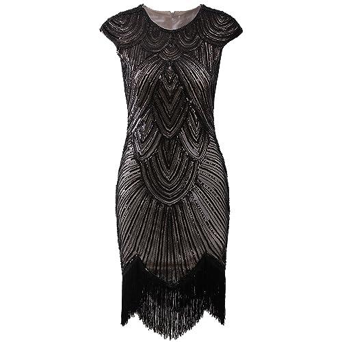 9c1464f4381 Vijiv Art Deco Great Gatsby Inspired Tassel Beaded 1920s Flapper Dress