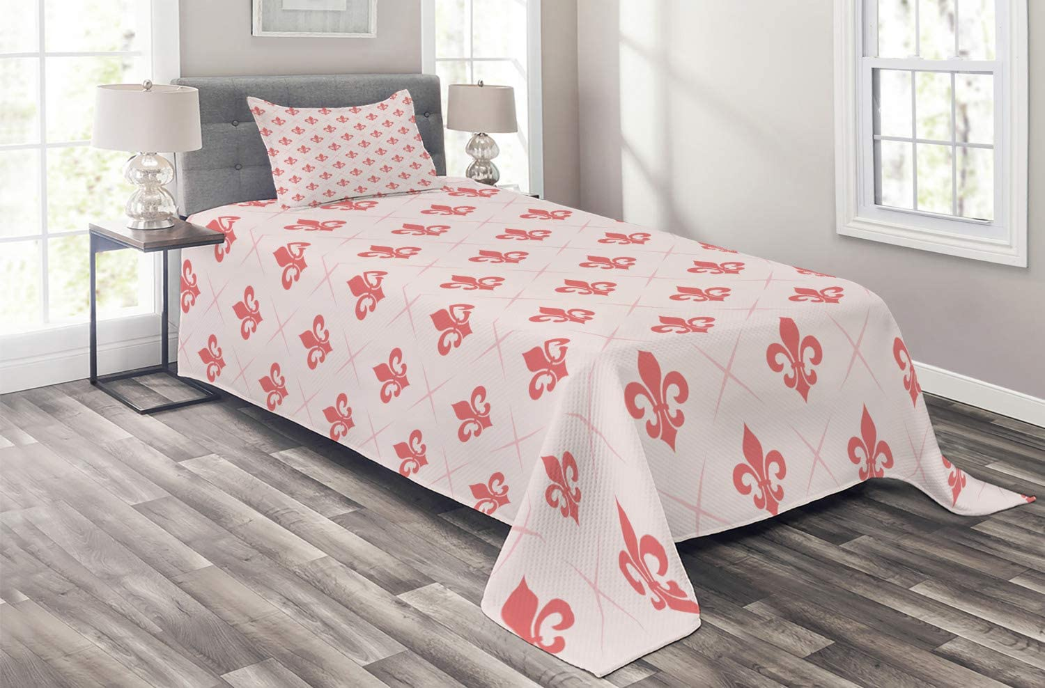Ambesonne Coral Coverlet Checkered Pattern with De Tampa Mall of Lis Translated Fleur