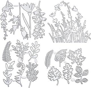 4 pièces matrice de decoupe gabarit feuilles kit de branches fleurs matrices de découpe plantes forestières nouveautés poc...