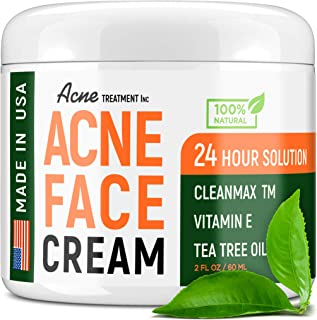 Acne Treatment Natural Cream - Made in USA - Acne Scar Removal & Acne Spot Pimple Cream with Tea Tree Oil -...
