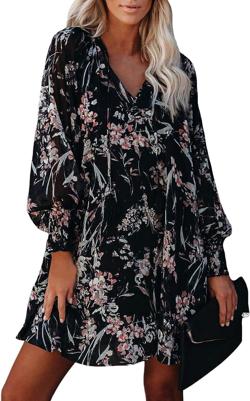 Linsery Women's Flroal Long Sleeve Chiffon Loose Mini Tunic Dress