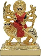 """Durga 3"""" – Hindu Goddess, Gold Plated Resin Statue, Red & Green Color"""