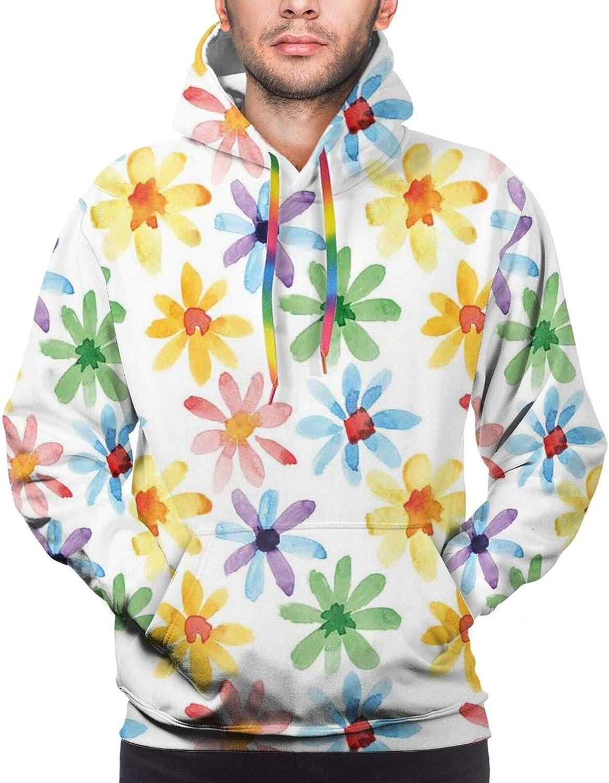 TENJONE Men's Hoodies Sweatshirts,Colorful Flowers and Paisley Inspired Motifs