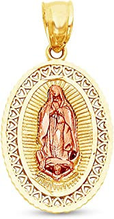 Sonia Jewels 14K Two 2 Tone Rose and Yellow Gold Milgrain Ornate Religious Our Lady of Guadalupe Virgin Mary Pendant Charm (20x20 mm)