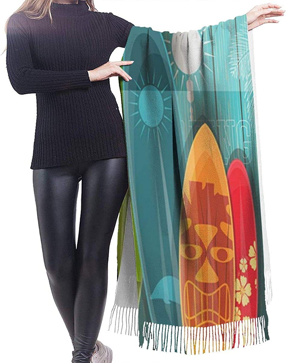 Surfboards Cashmere Shawl Wrap Scarf Large Warm Scarf For Women