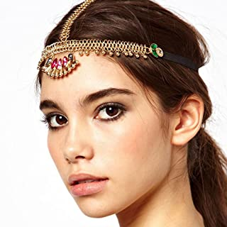 A&C Chic Bohemia Alloy Multicolor Headchain for Women, Fashion Indian Headpieces for Girls.