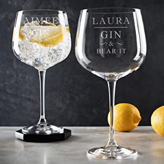 Personalized 'Gin & Hear It' Glass - Unique Birthday Anniversary Best Friend Gifts - for Women Gin Lovers - Engraved Pun Gin Goblet