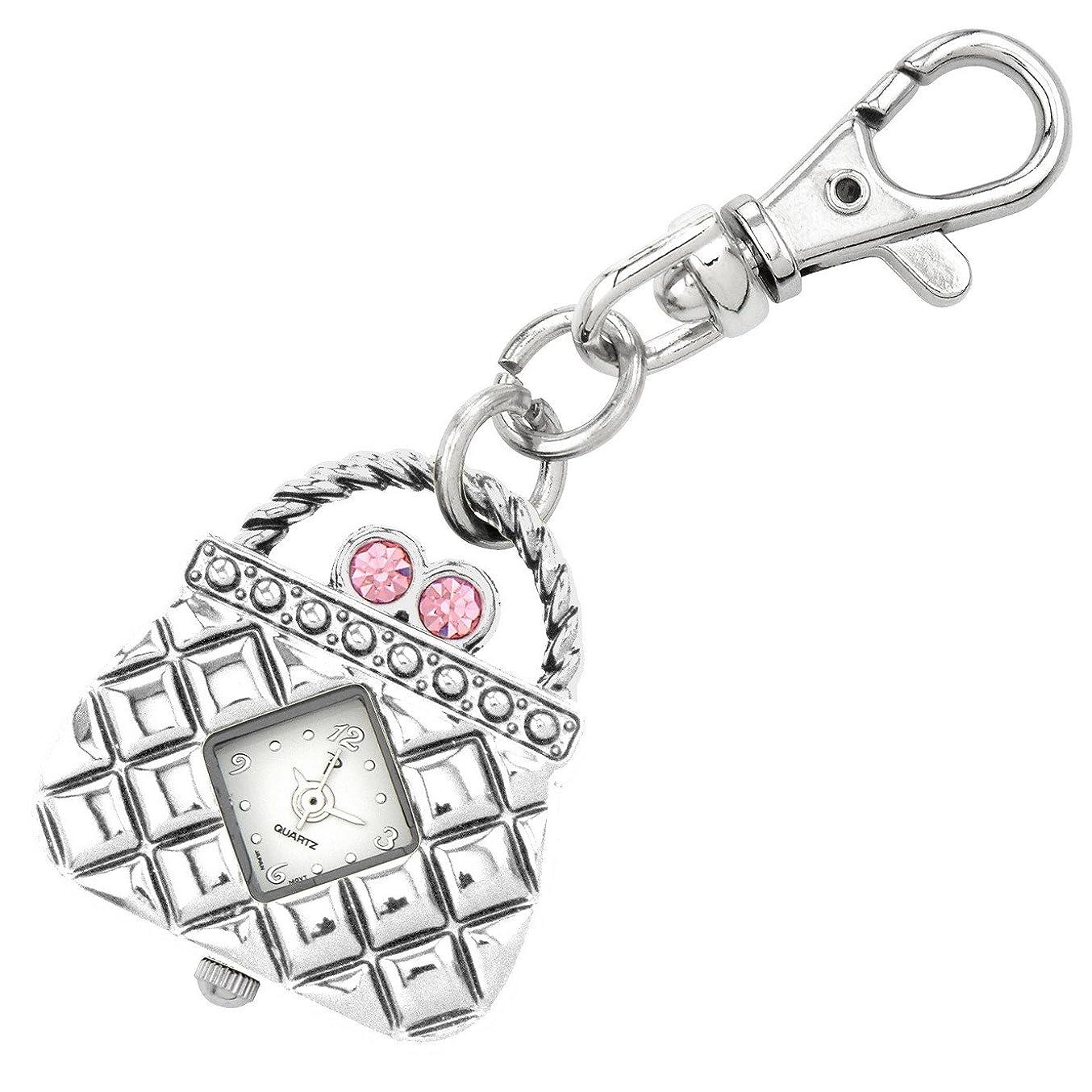 マグ宣言君主JasユニセックスNovelty Belt Fob / Keychain WatchピンクPurseシルバートーン