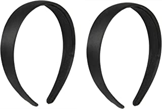 Luxxii 1 Inch Black Satin Covered Alice Hairband for Kids Girls Teens Headbands (Pack 2 (Black 1))
