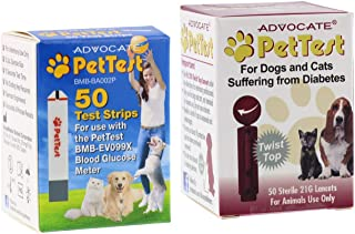 Advocate PetTest Blood Glucose Test Strips & 21G Twist Top Sterile Lancets Combo – Ideal for Vets & Pet Owners - Easy to Use & Calibrated for Dogs/Cats Suffering from Diabetes