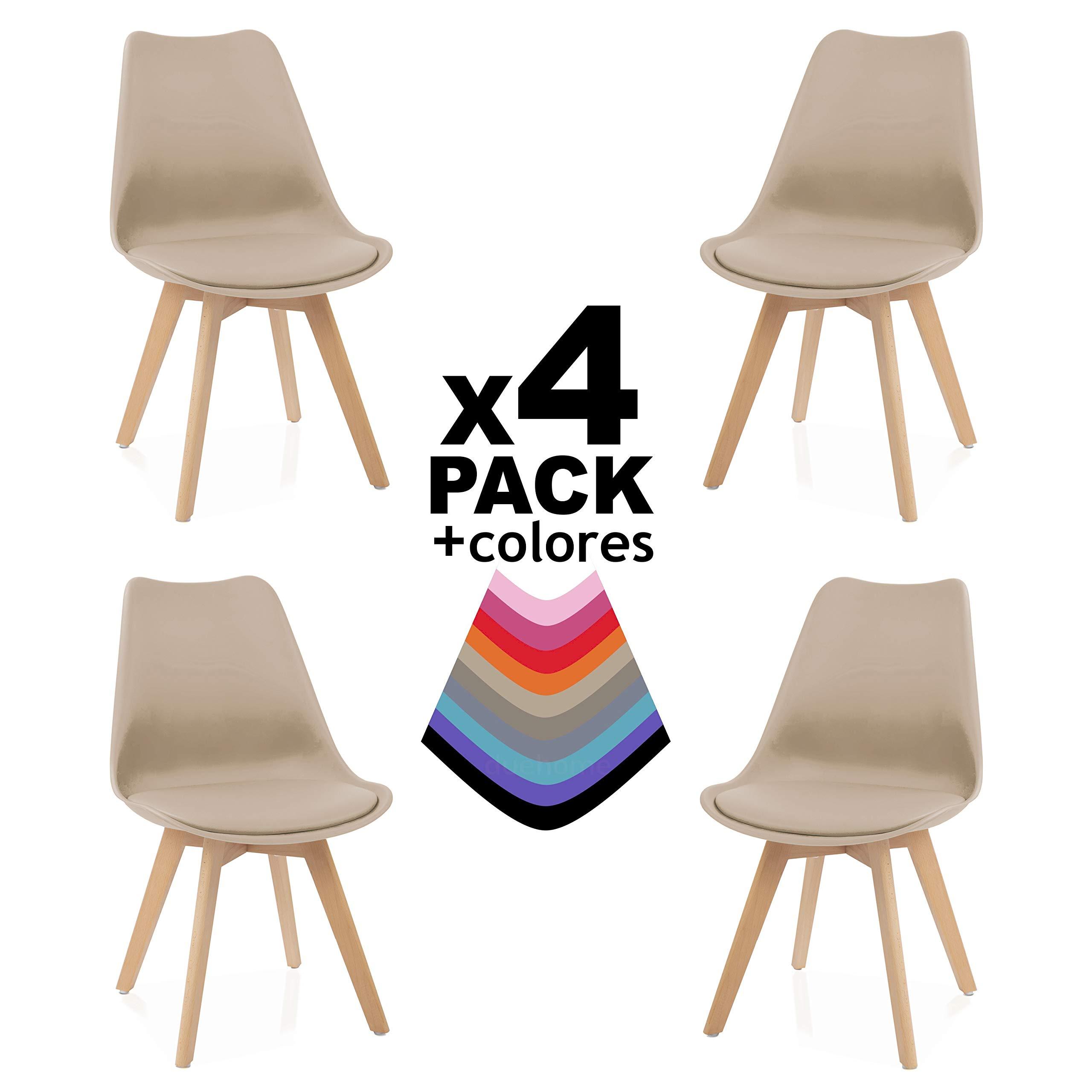 Due-Home - Beench - Pack 4 sillas Tower Madera Haya, sillas de Comedor Estilo nordico, Medidas: 83 cm (Alto) x 49 (Ancho) cm x 53.5 cm (Fondo) (Arena): Amazon.es: Juguetes y juegos