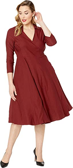 Plus Size 1950s Style Stretch Sleeved Anna Wrap Dress